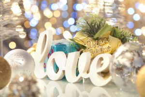Love word with Christmas decorations